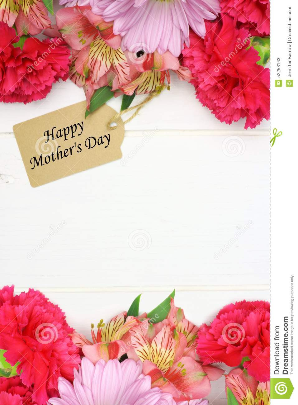 mother s day gift tag with flower frame on white wood - Mothers Day Pictures Frames