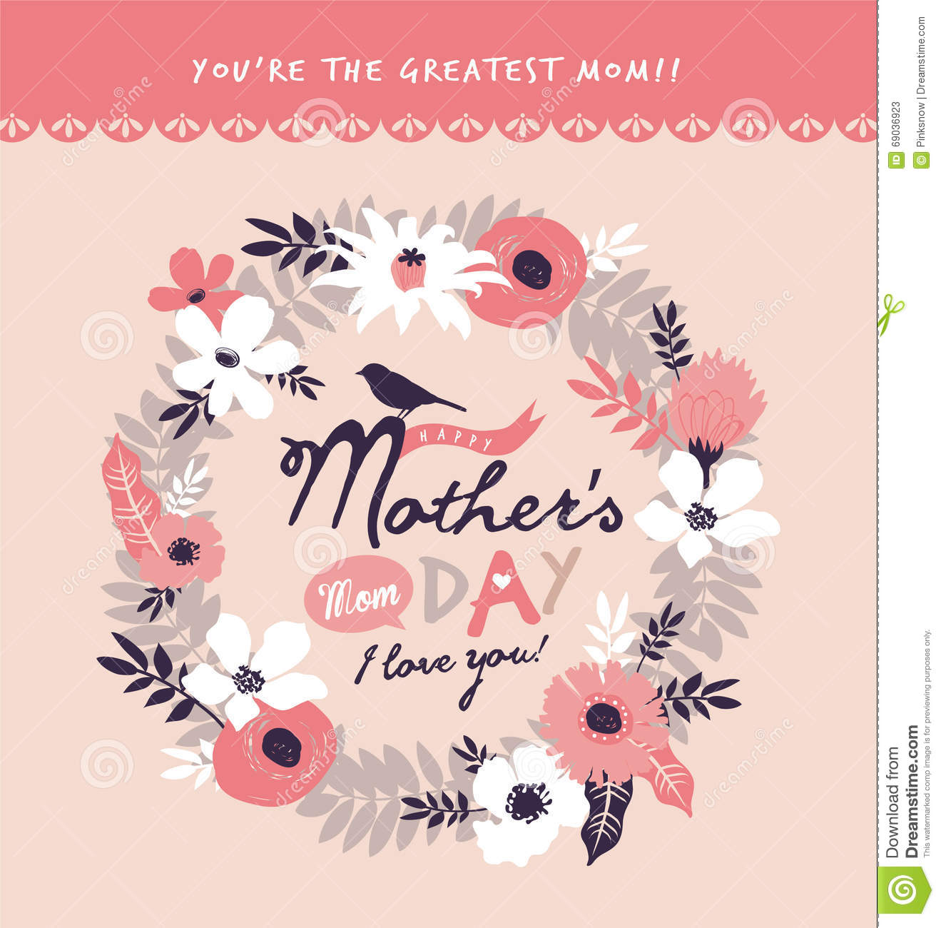 Mothers day greeting card stock vector illustration of decoration mother s day greeting card m4hsunfo