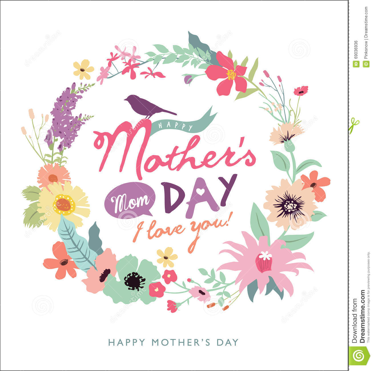 Mother's day greeting card stock vector. Illustration of ...