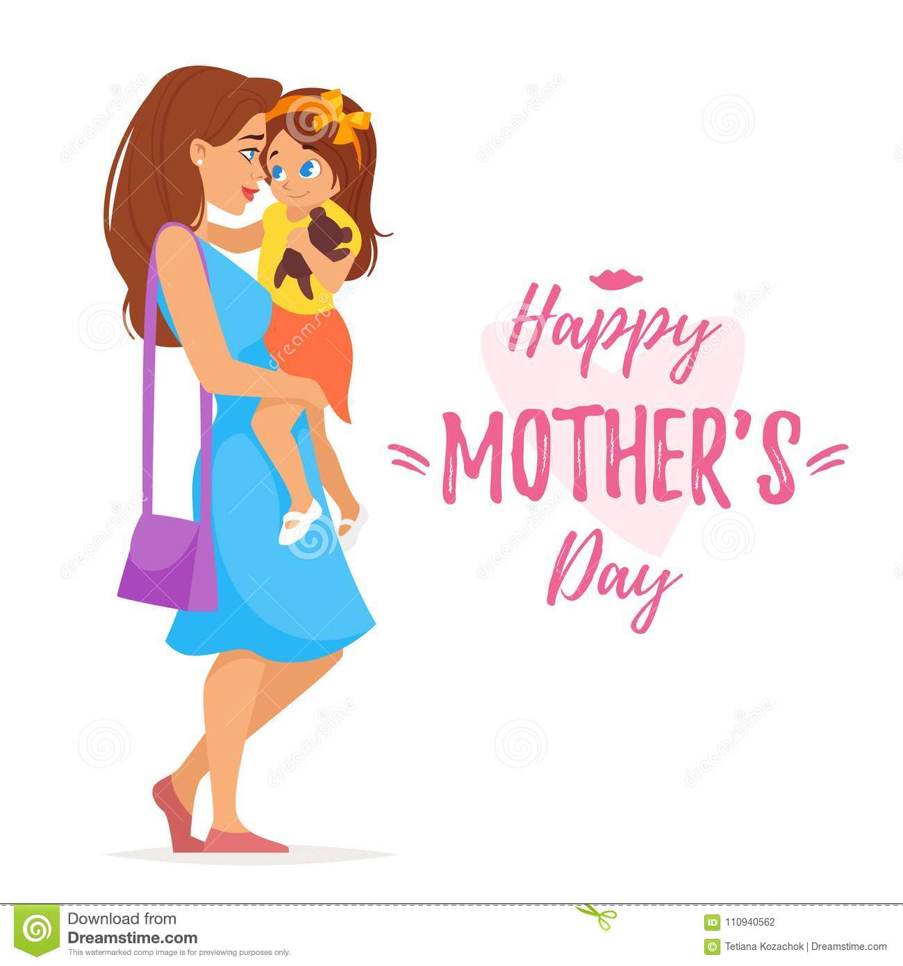 Mothers Day Greeting Card Template Stock Vector Illustration Of