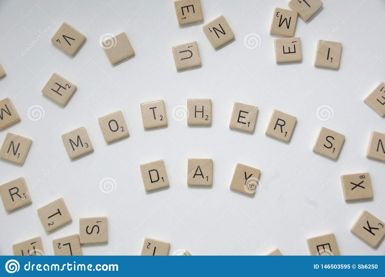 Mother`s day greeting with scrabble tiles