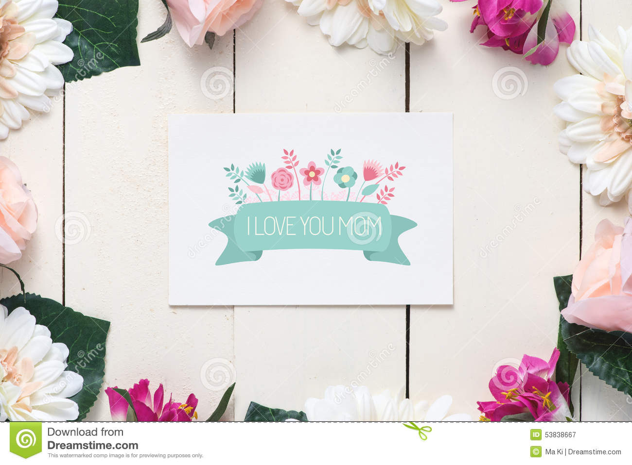 Mother S Day With Message I Love You Mom Stock Image Image Of Gift