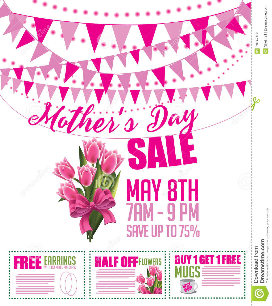 Mothers Day Storewide Sale Template: Mother's Day Sale Bunting And Coupon Marketing Template