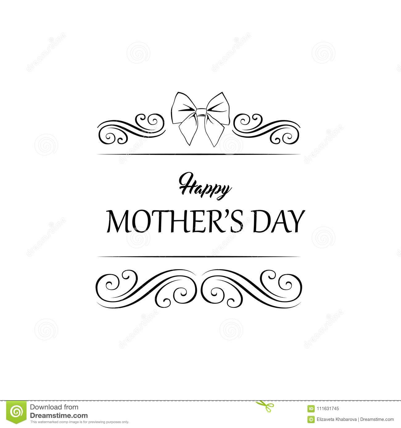 mother s day template design vector frame with bow swirls