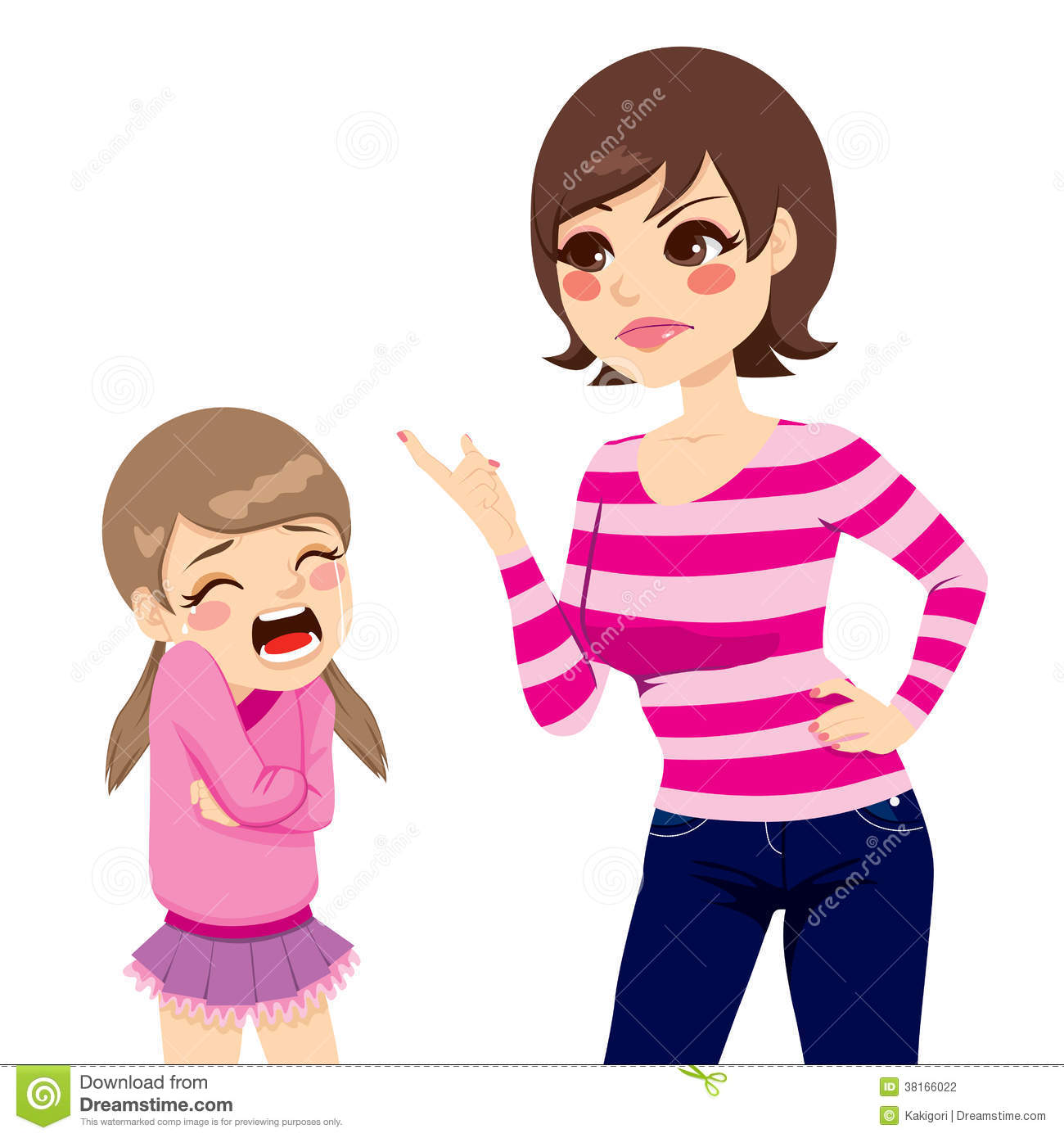 Illustration of upset young mother scolding little crying girl.