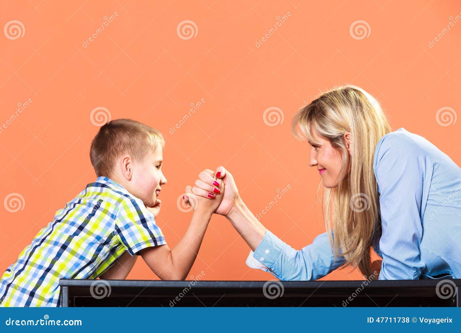 family wrestling mom son