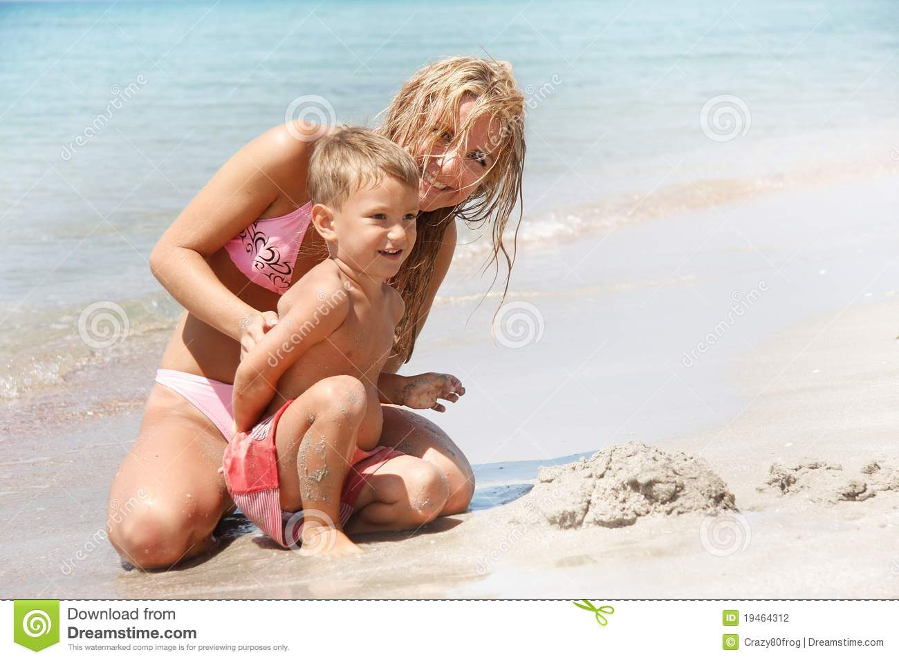 Mother And Son On Beach Stock Photography Image 19464312