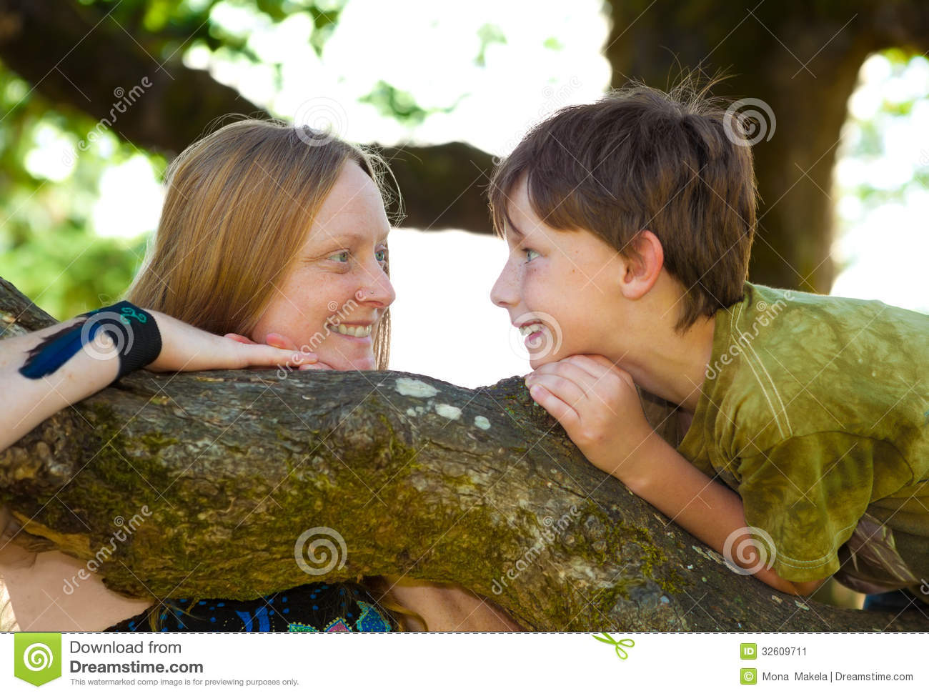 Mother And Son Brainstorming Stock Image Image Of Blond Cheerful