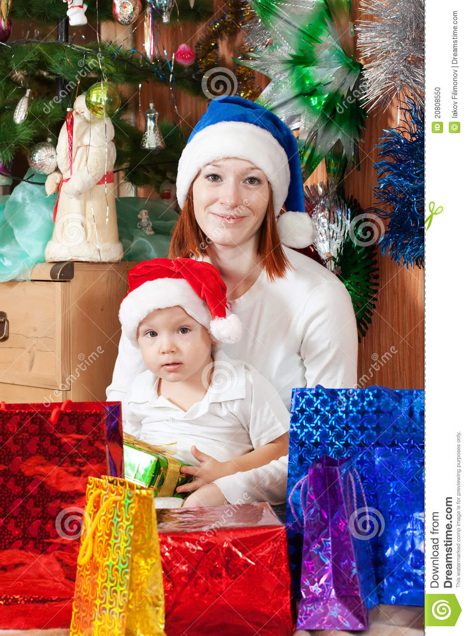 Mother and son with christmas gifts stock photo image Christmas gift ideas for mom from son