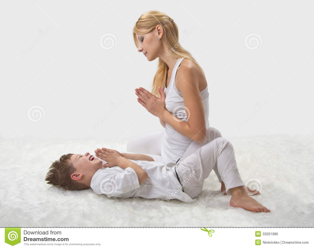 Mother And Son Do Yoga Stock Photo Image Of Health, Lifestyle - 33261986-8250