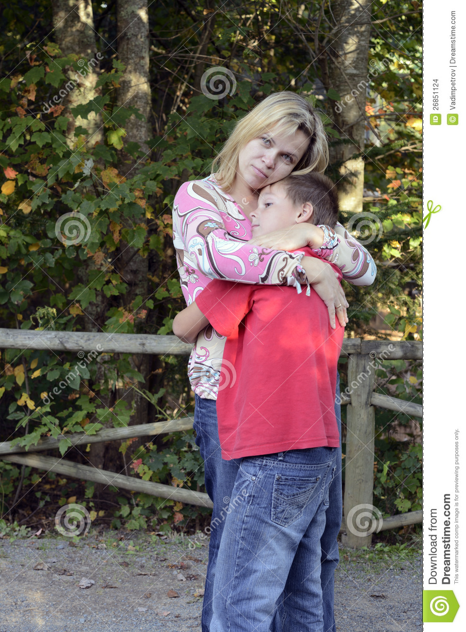 Mother And Son Hugging Each Other Stock Photo - Image of ...