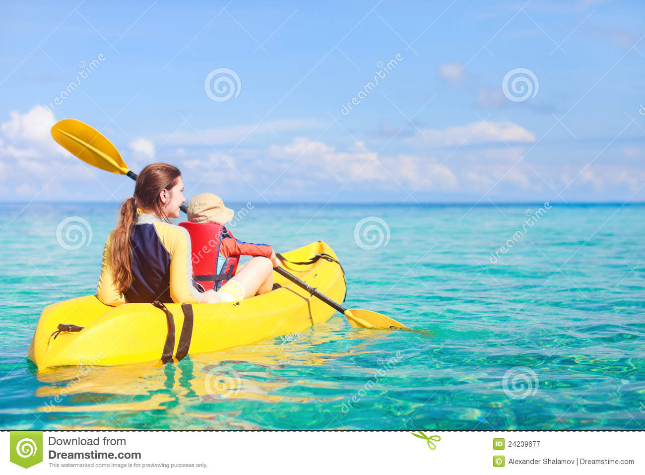 Mother and son kayaking