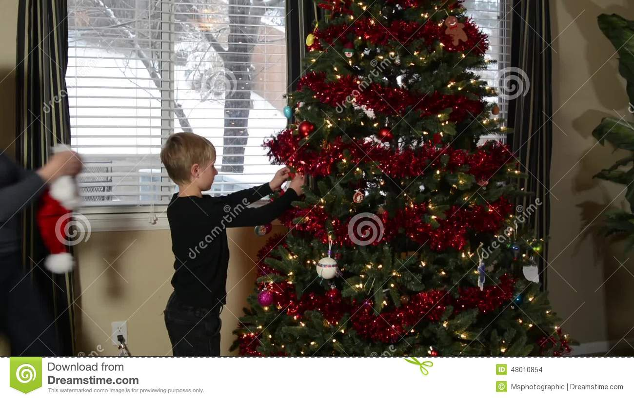 Mother And Son Kiss By Christmas Tree Stock Footage - Video of snow ...