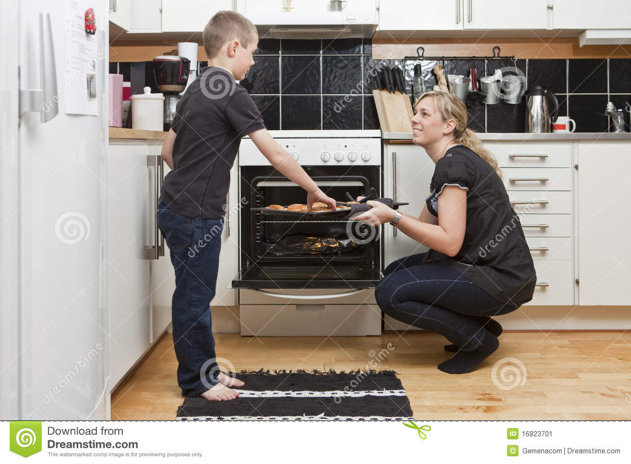 Mother And Son In Kitchen Stock Image Image 16823701
