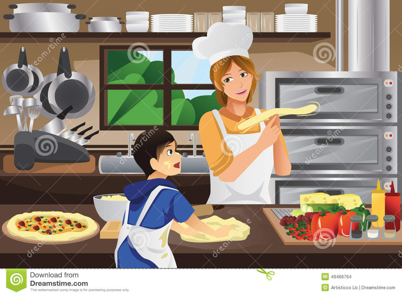 Mother Son In The Kitchen Stock Vector Image 49466764