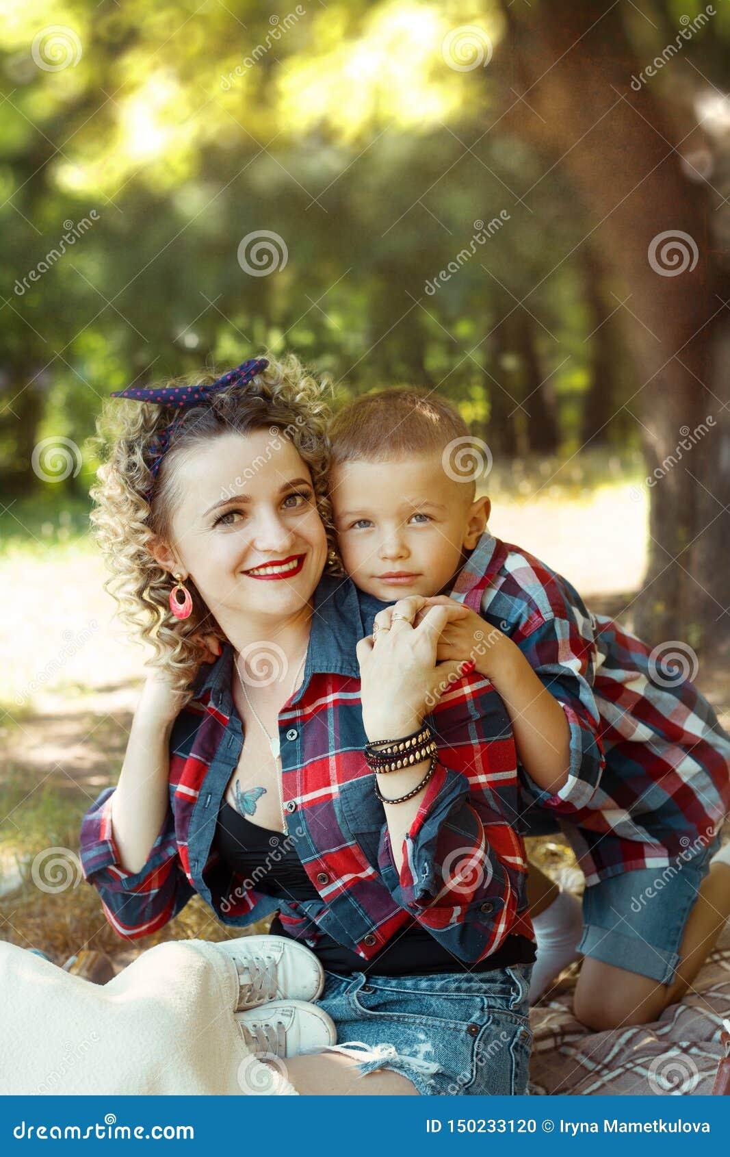 Mother and son lovely portrait together hugging