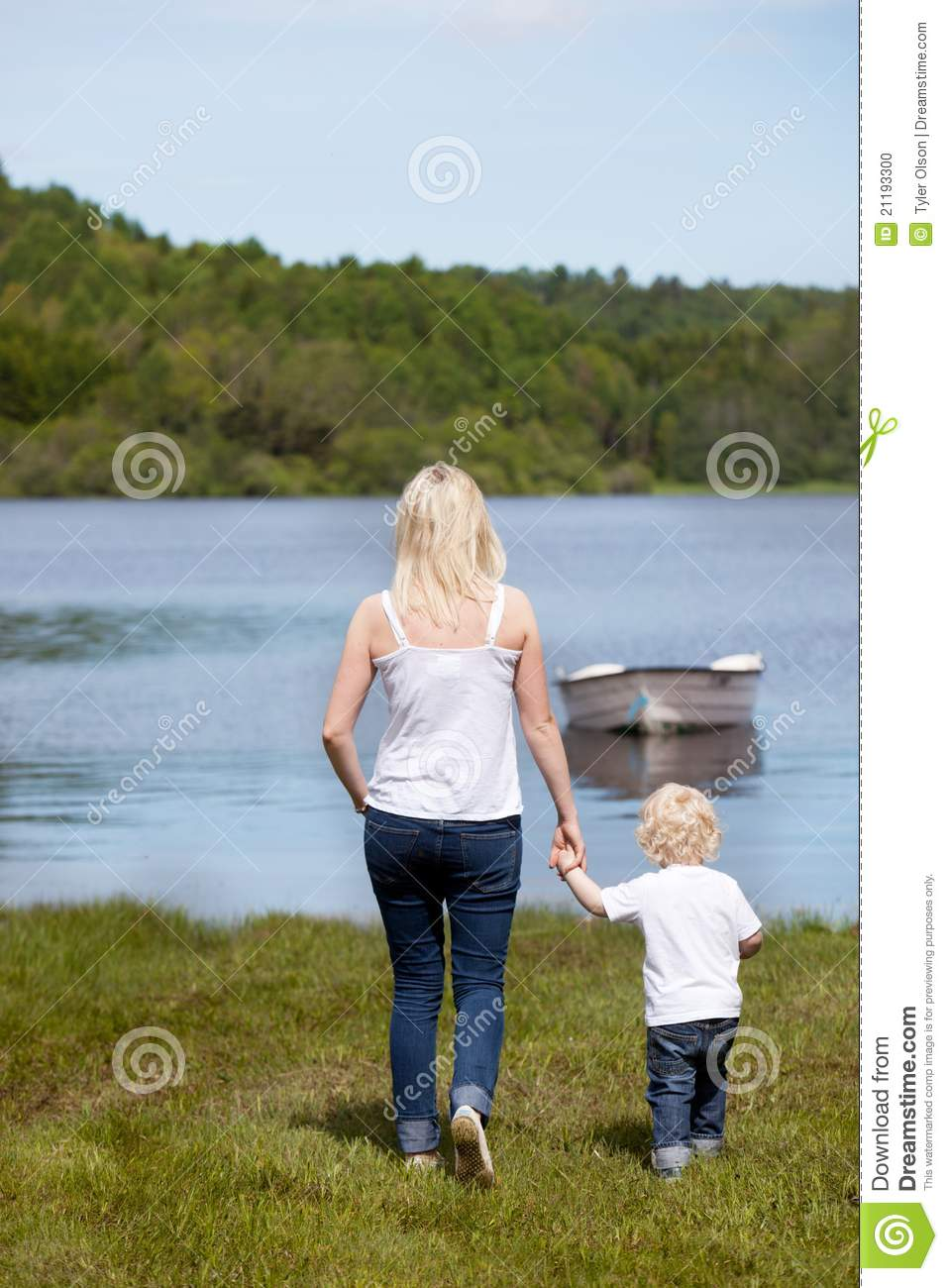 Mother with Son near Lake