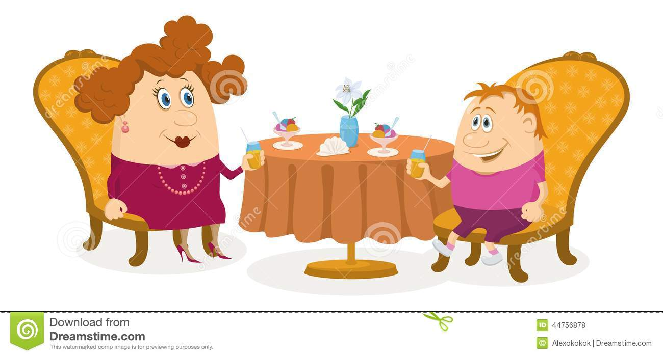 Mother And Son Near Table Isolated Stock Vector Image