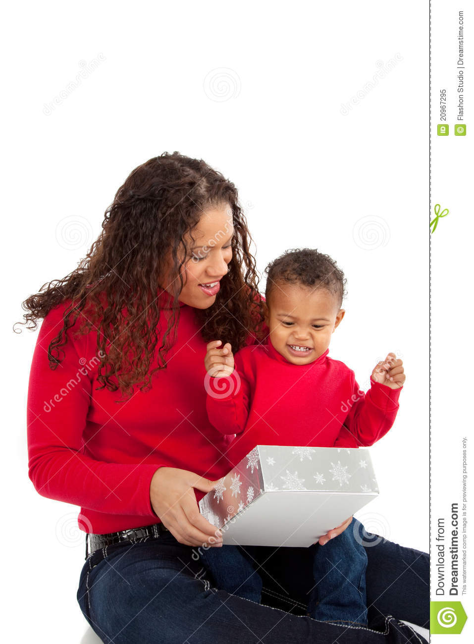 Mother And Son Open Christmas Gift Box Stock Image Image