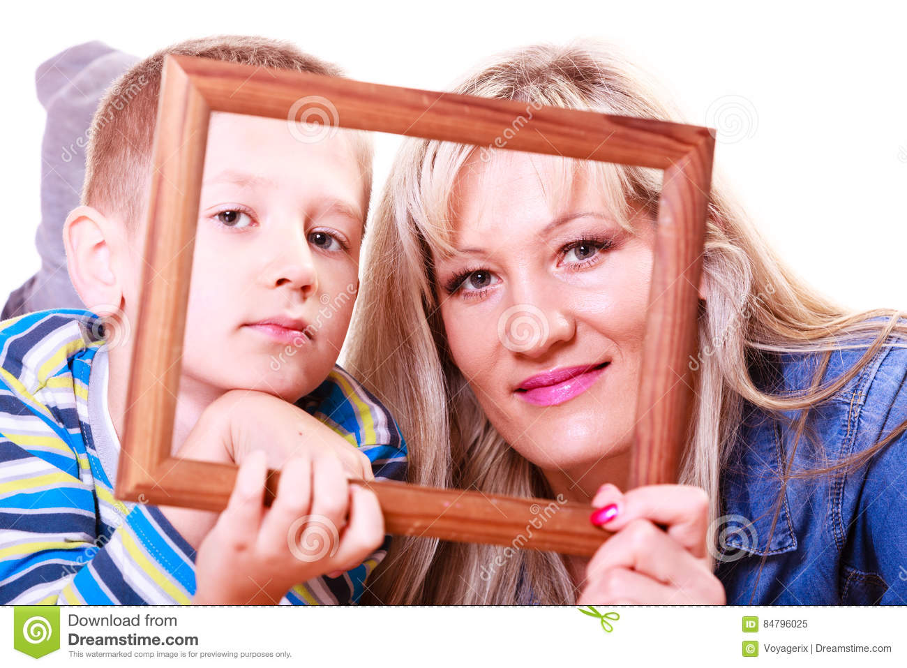 Mother And Son Play With Empty Frame Stock Image Image Of Child