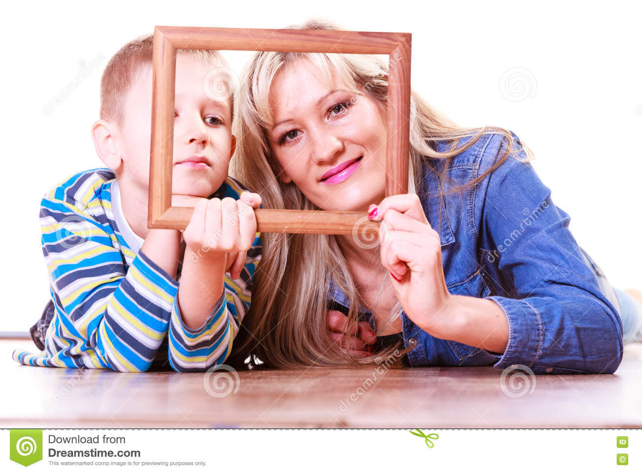 Mother And Son Play With Empty Frame Stock Image Image Of Enjoy