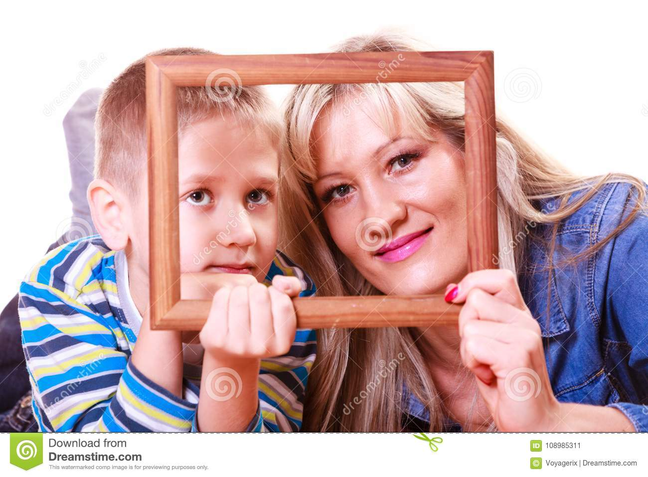 Mother And Son Play With Empty Frame Stock Image Image Of Laugh