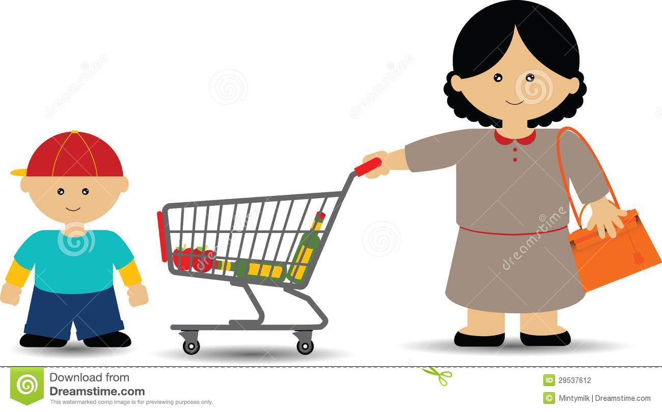 Mother and Son Shopping stock illustration. Image of ...