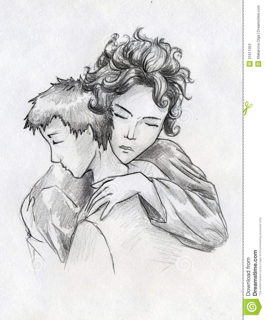 Mother and son tender moment hand drawn pencil sketch