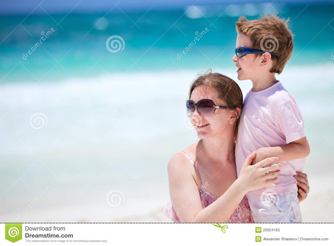 Mom and son on vacation