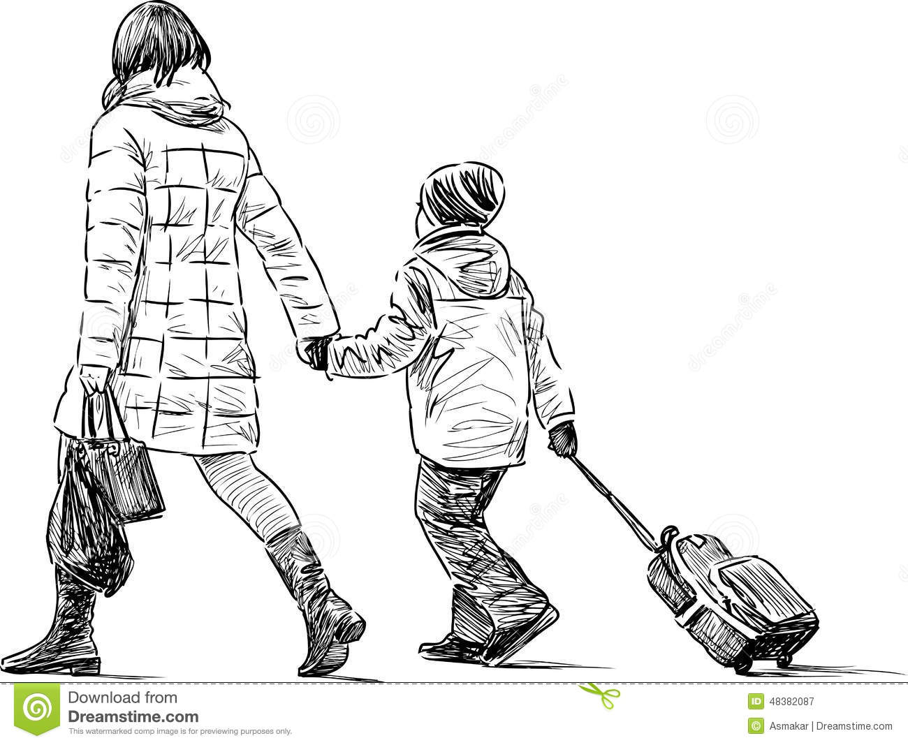 Mother with a son on a walk vector sketch of a woman with her kid