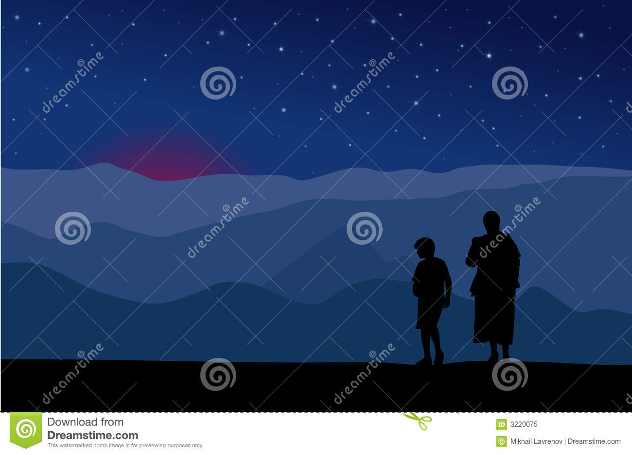 Mother and son watching stars
