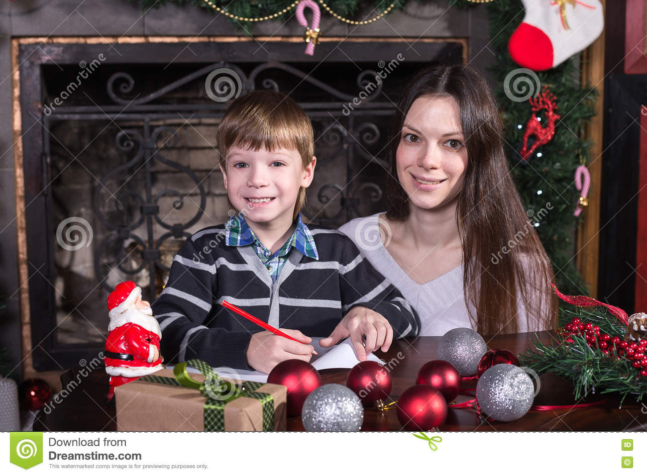 Mother And Son Writing Letter To Santa Stock Image - Image of