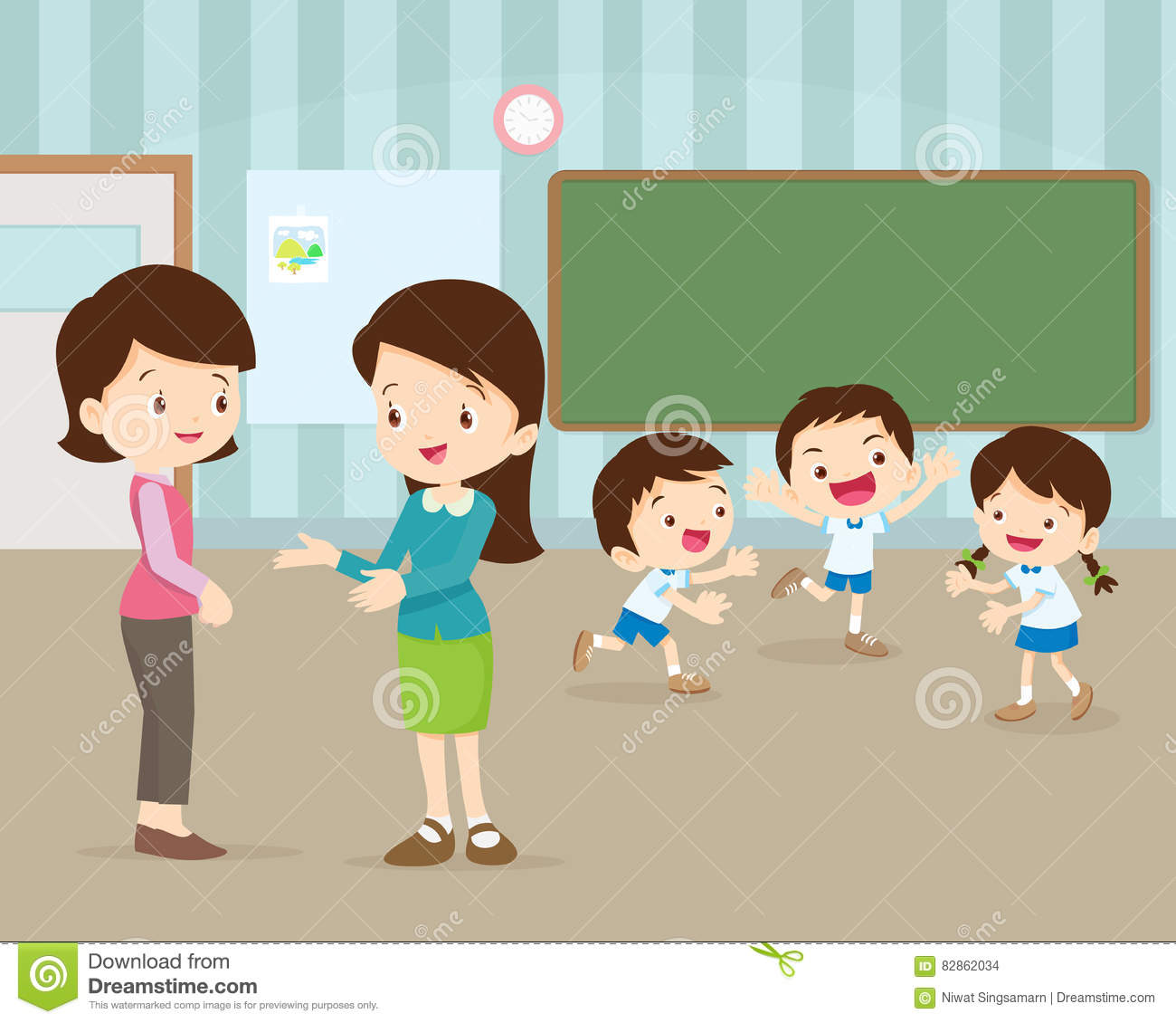 Mother Talking Young Teacher Stock Vector - Illustration ...