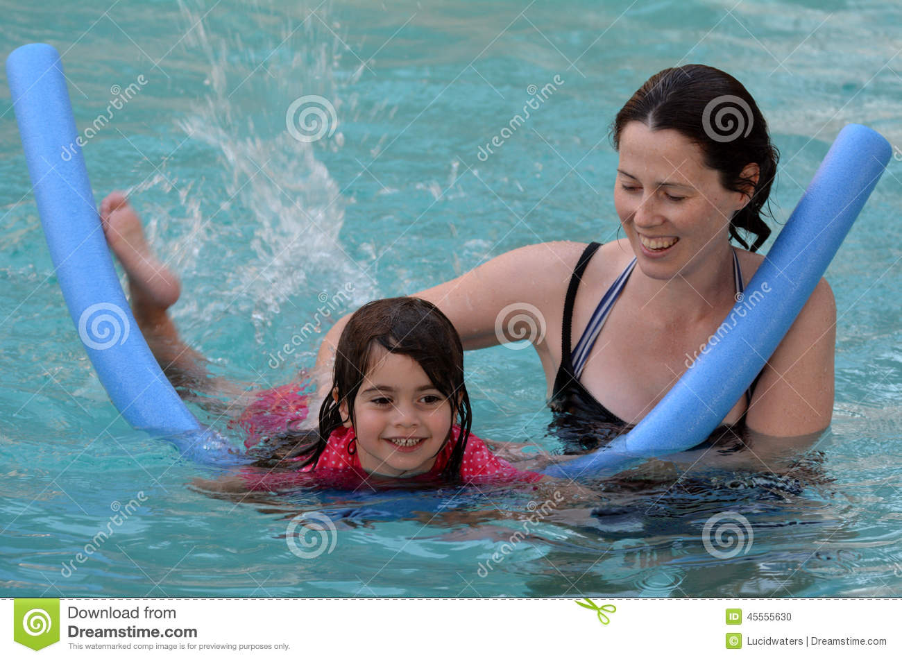 Mother teach her child to swim stock photo image 45555630 - Wetherby swimming pool swim times ...