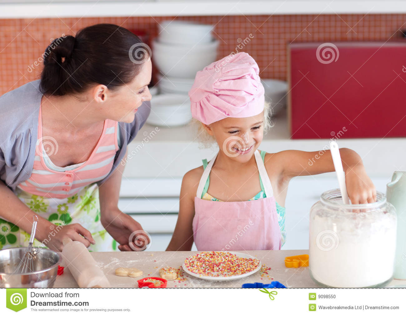 Mother Teaching Child How To Cook Stock Photo Image 9098550