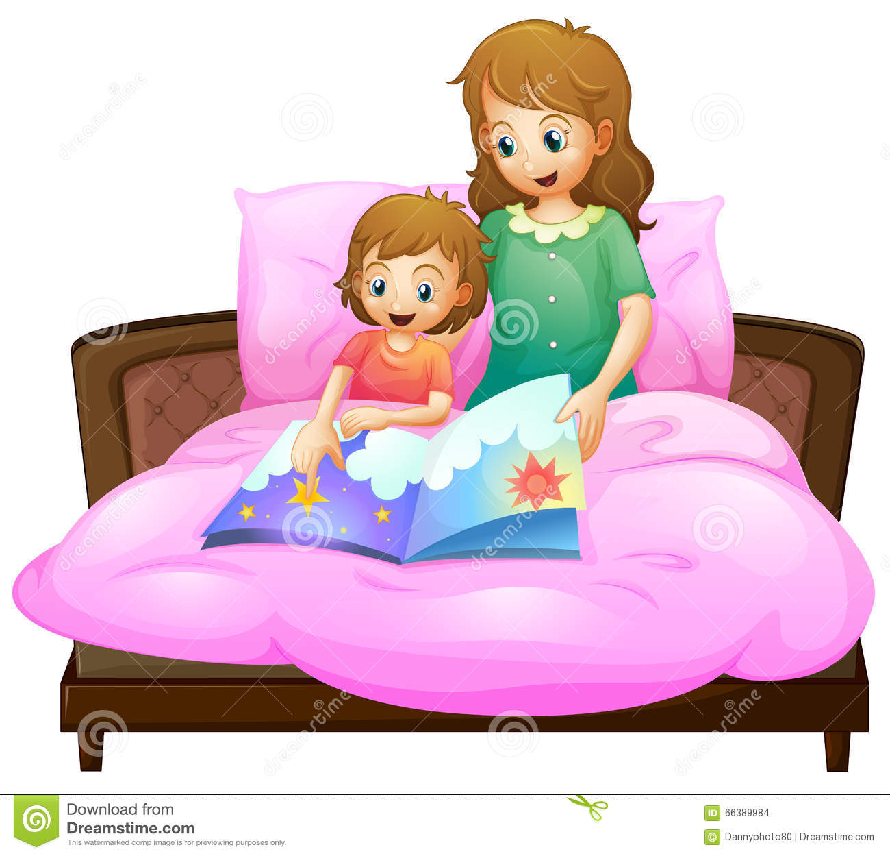 Mother telling bedtime story to kid in bed stock illustration image