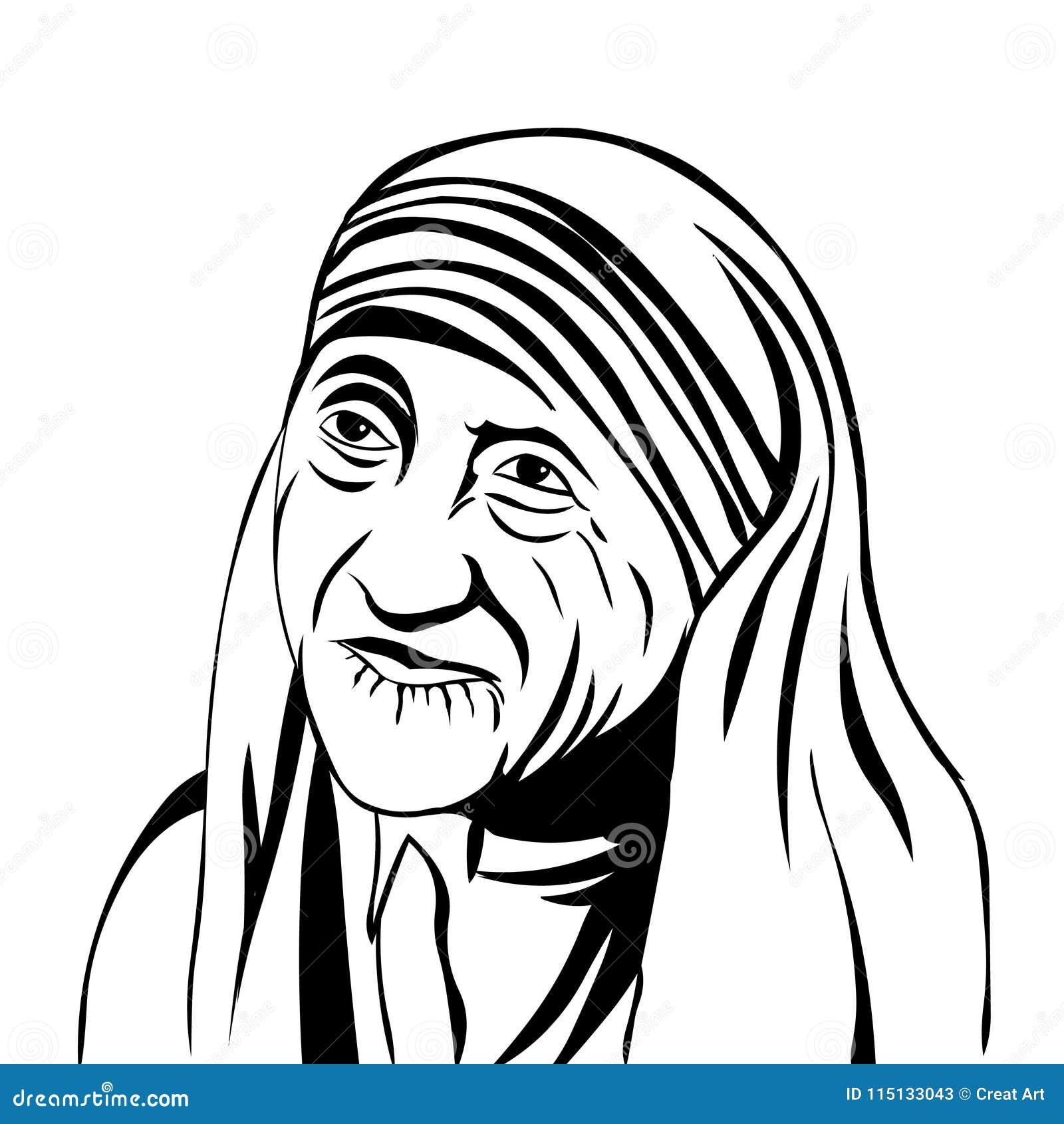 Mother Teresa Vector Portrait Of Mother Teresa Isolated On White