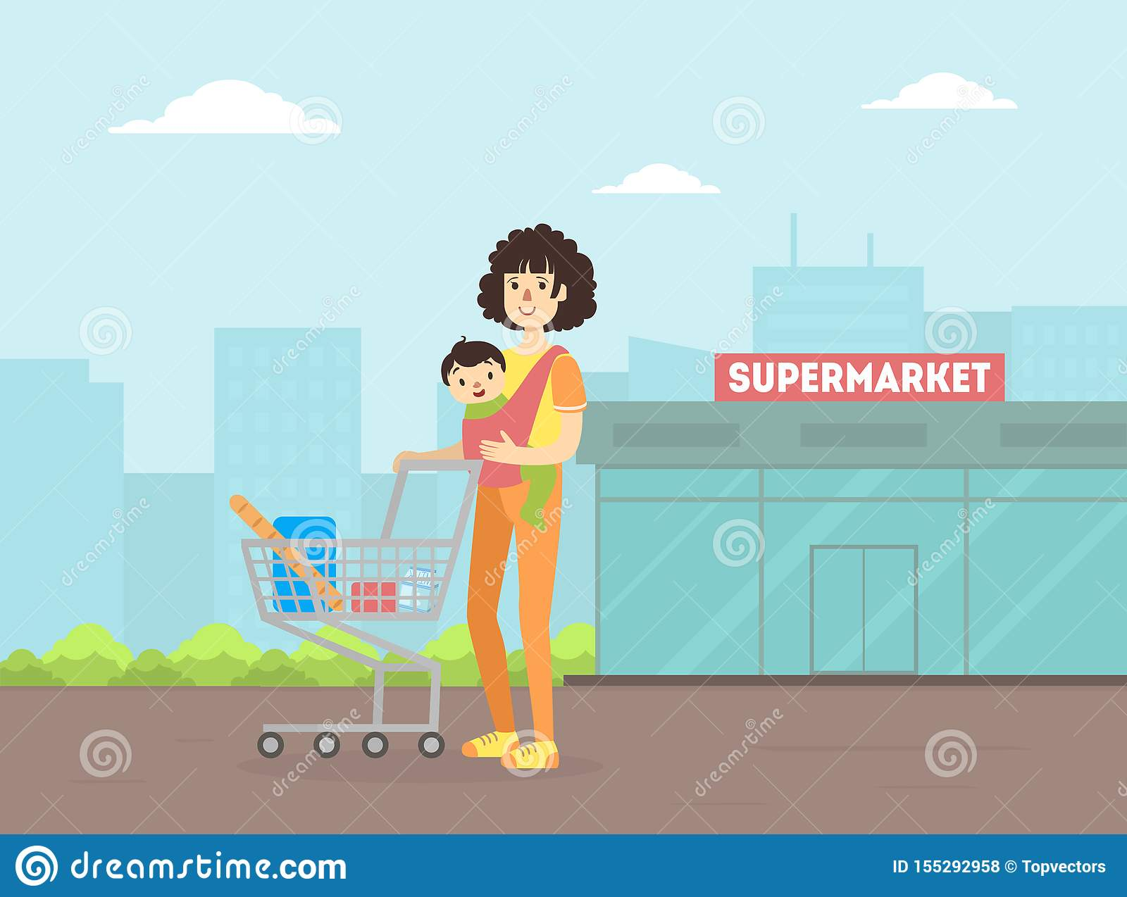 Mother with Toddler Baby in Sling Pushing Shopping Cart, Young Woman With Her Kid Standing in Front of Supermarket