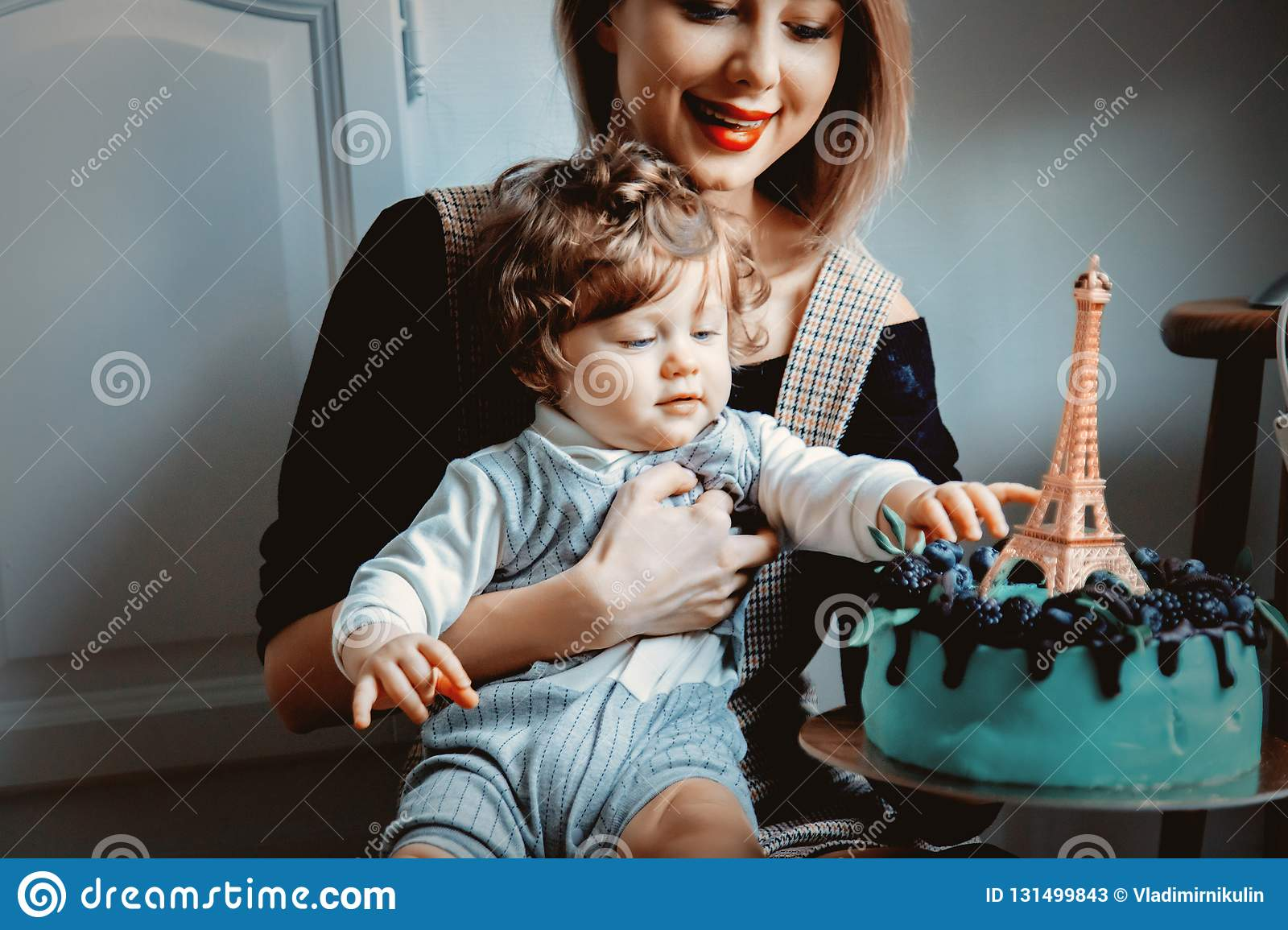 Peachy Mother And Toddler Boy With His First Cake On Birthday Stock Image Personalised Birthday Cards Sponlily Jamesorg