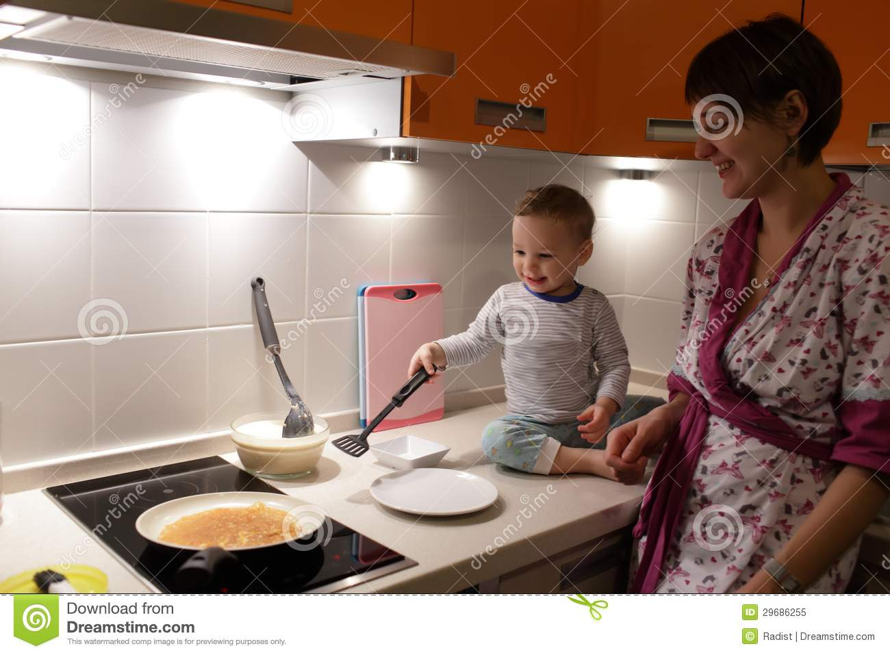Mother With Toddler At Kitchen Stock Image Image 29686255