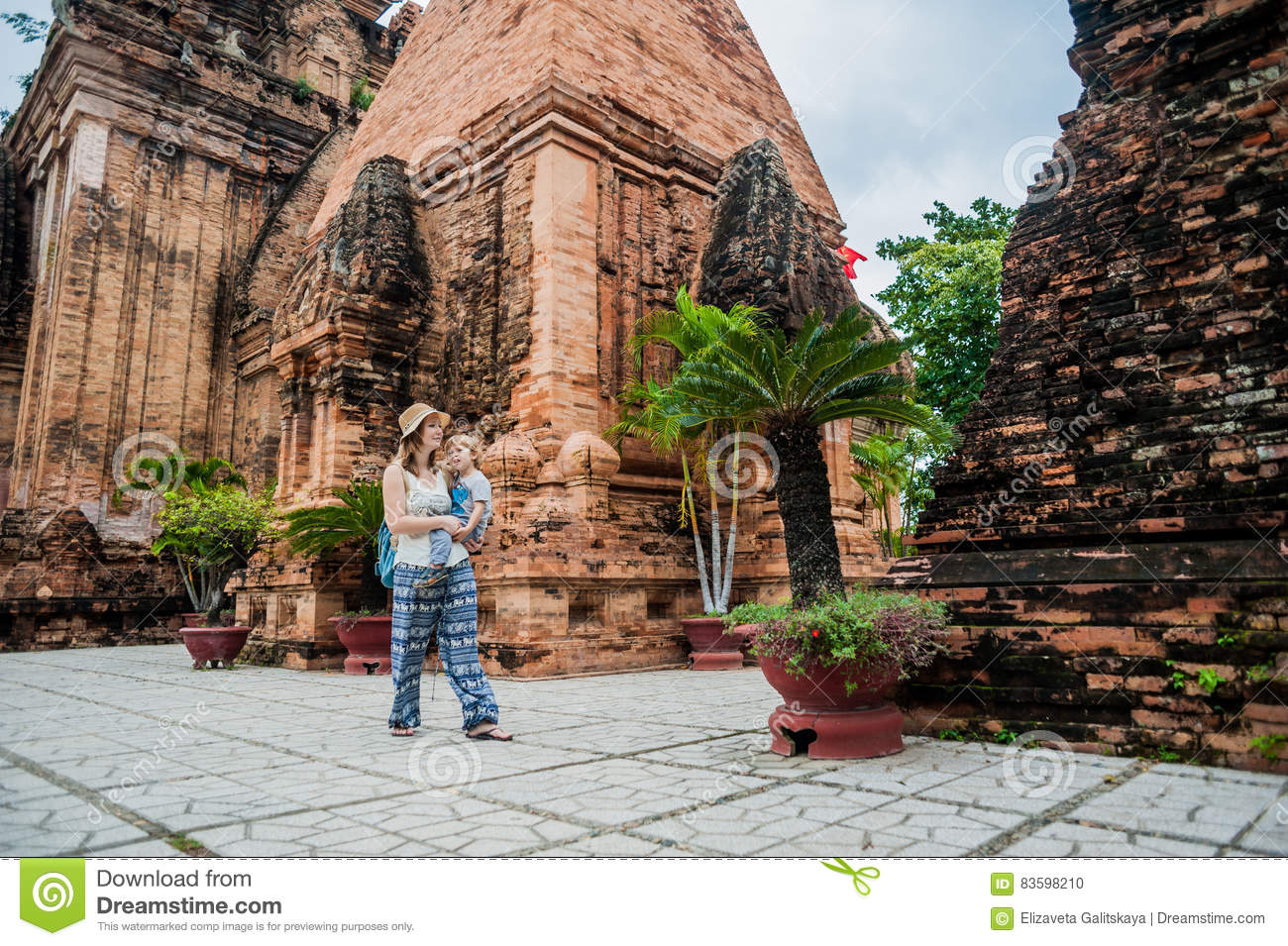 Mother and Toddler Son tourists in Vietnam. Po Nagar Cham Tovers. Asia Travel concept.