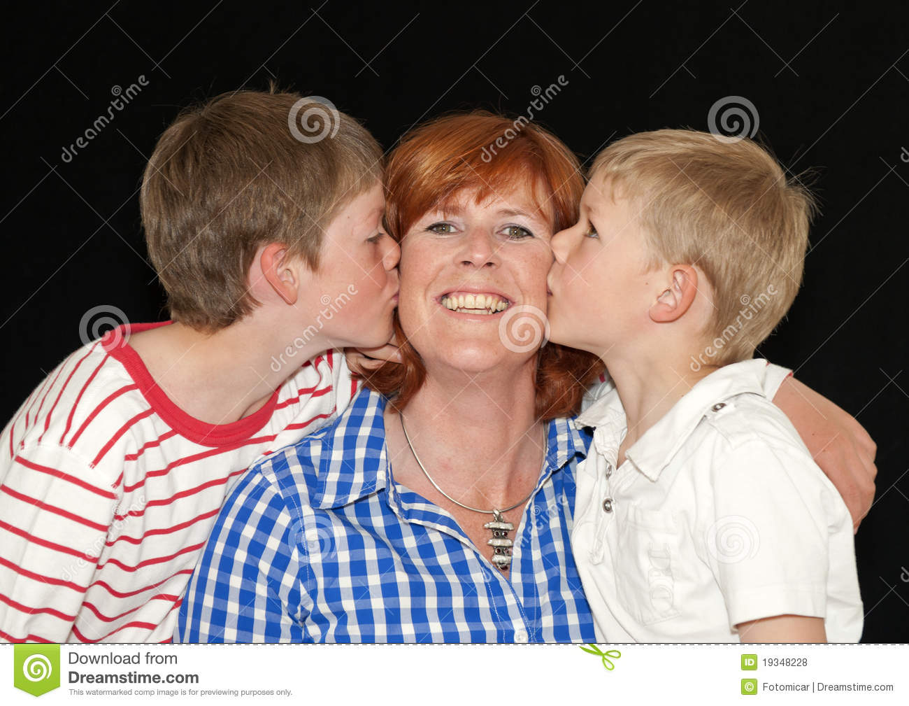 Mother And Two Young Sons Stock Photo Image Of Smiling