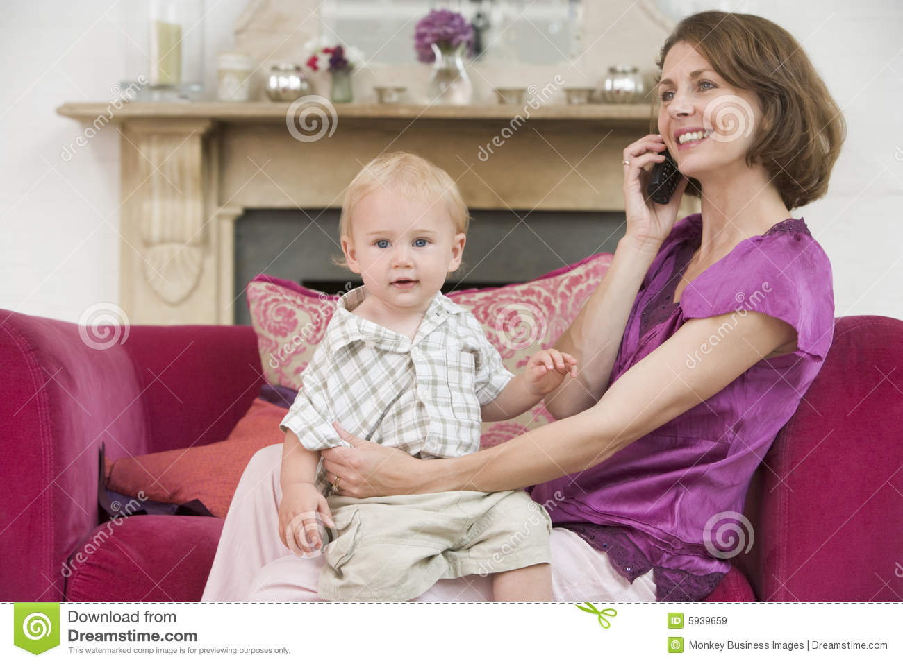 baby living room using telephone in living room with baby royalty 10607