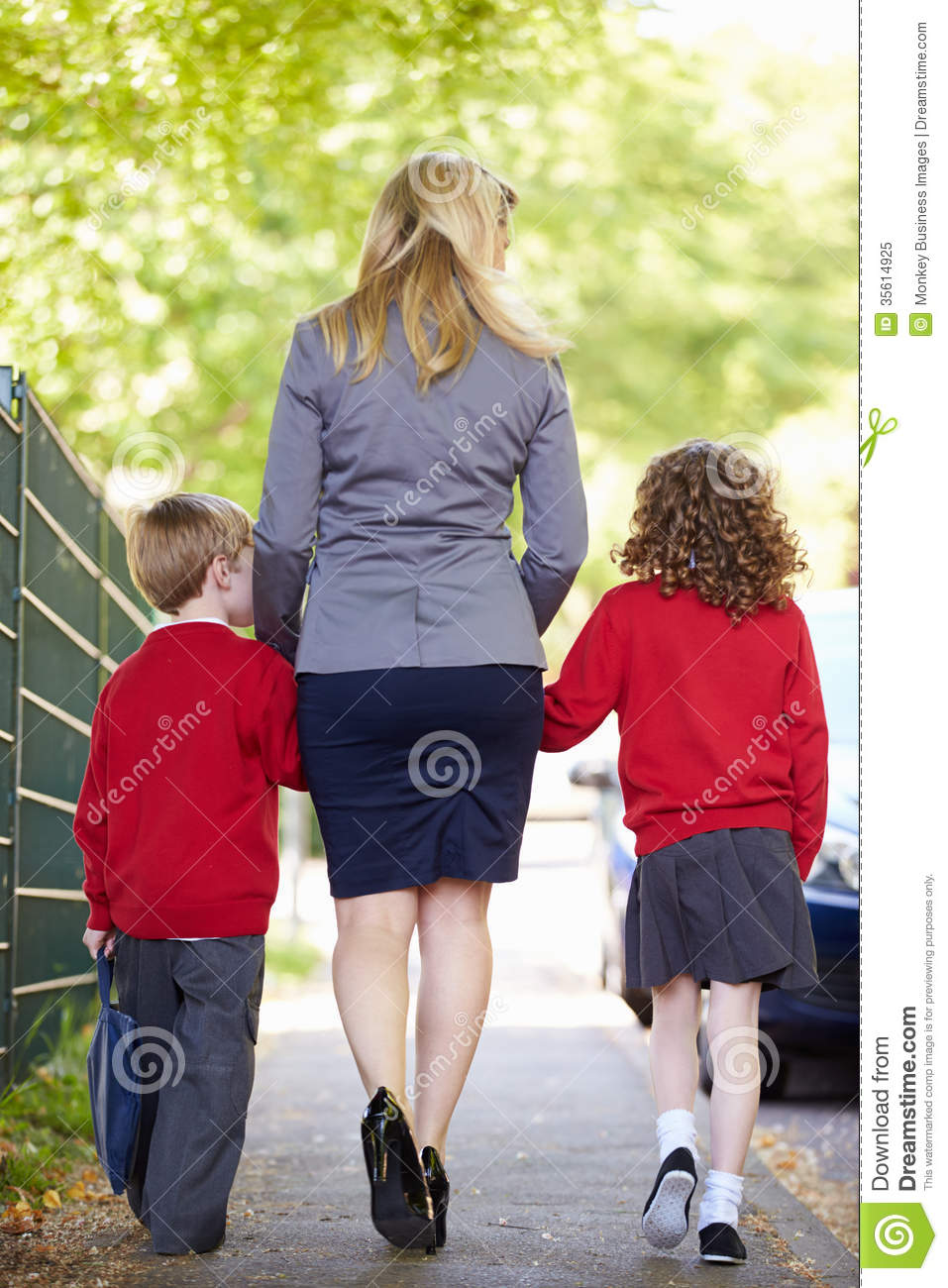 mother walking to school children on way to work royalty mother walking to school children on way to work