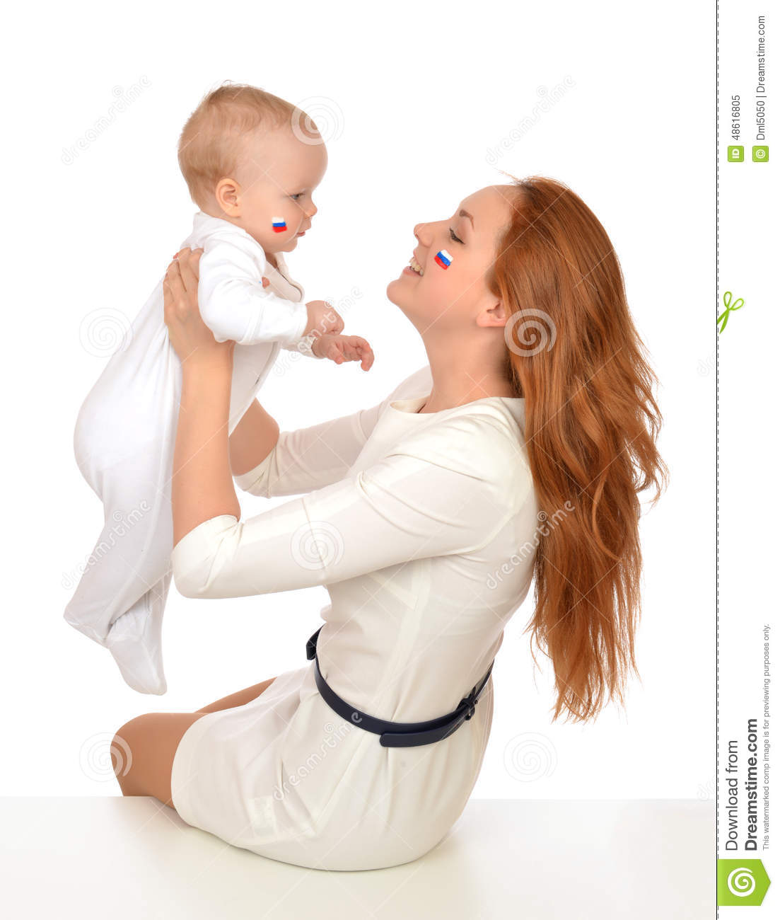 Mother Woman Holding In Her Arms Child Baby Kid Girl Fan ...