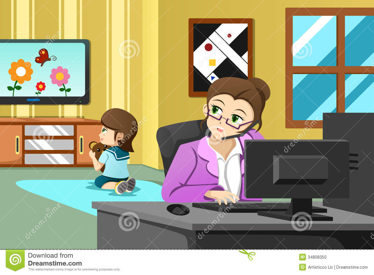 Mother Working In The Office Stock Photo - Image: 34808350