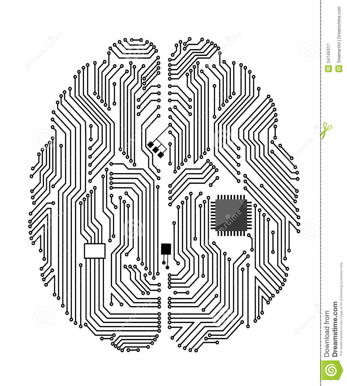 motherboard brain stock vector  illustration of idea