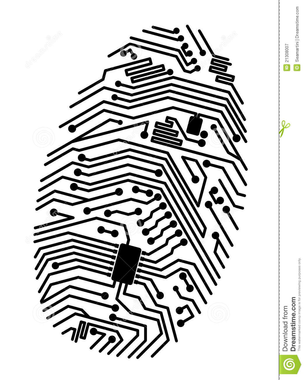 motherboard fingerprint stock vector  illustration of idea