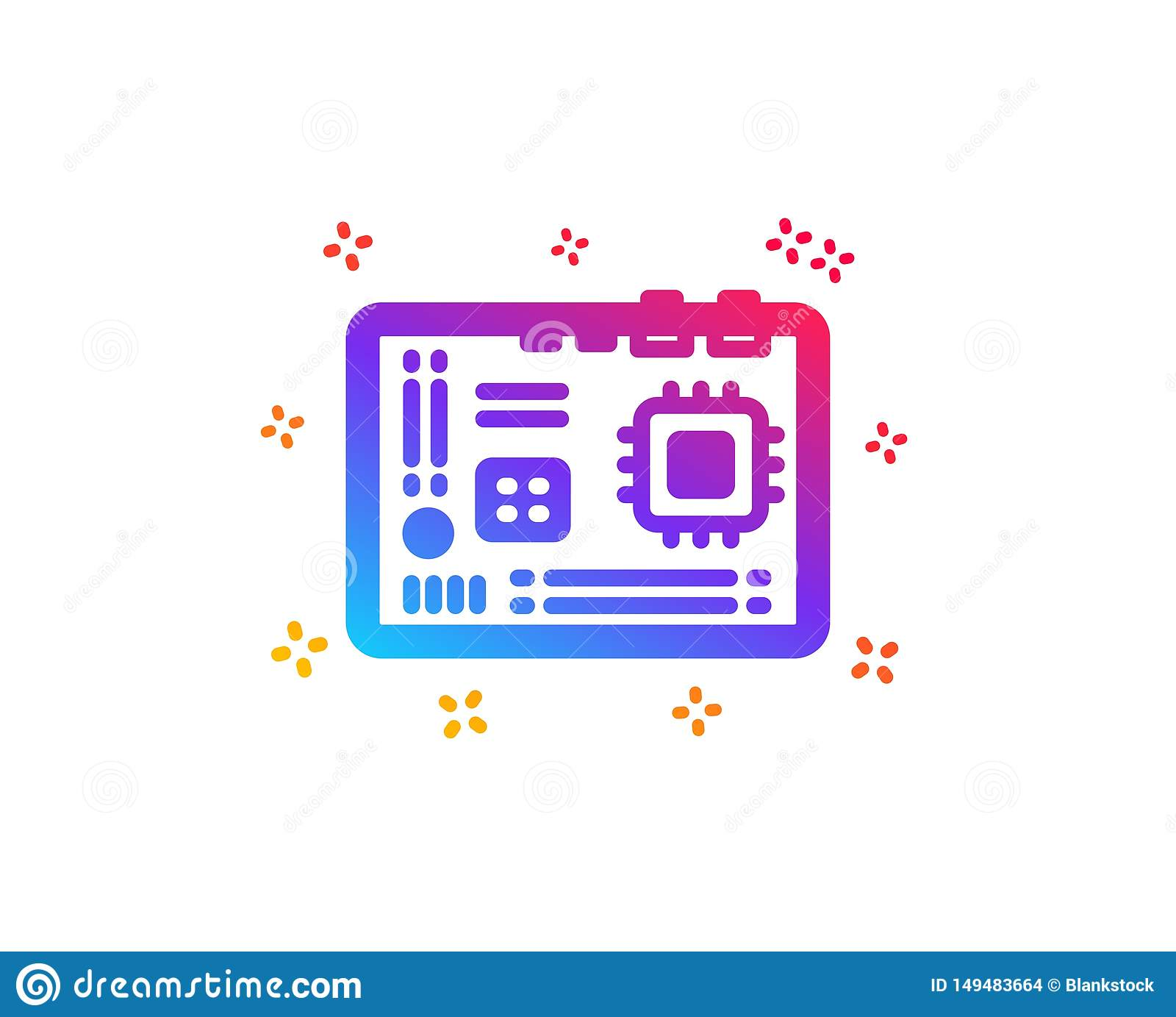 Motherboard icon. Computer component hardware sign. Vector