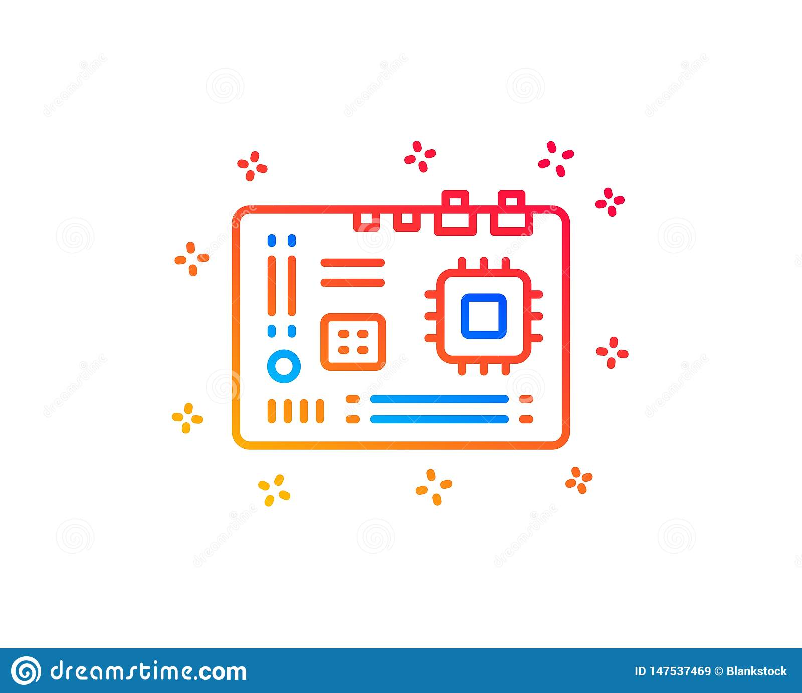 Motherboard line icon. Computer component hardware sign. Vector